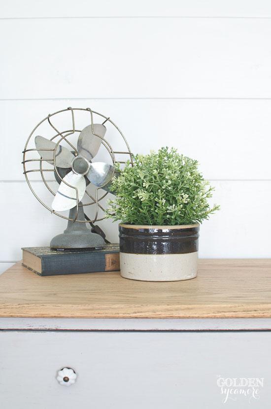 Vintage fan and crock
