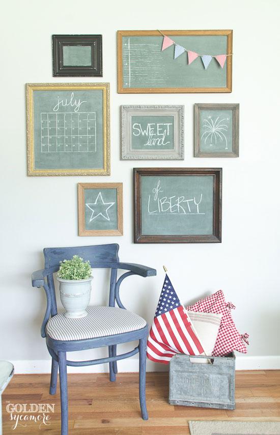 Fun patriotic chalkboard gallery wall - thegoldensycamore.com