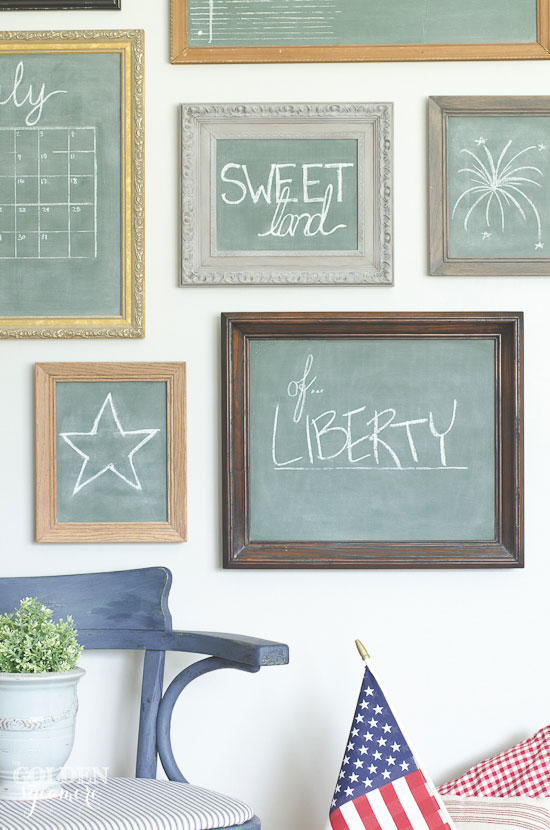 Independence Day chalkboard gallery wall - thegoldensycamore.com