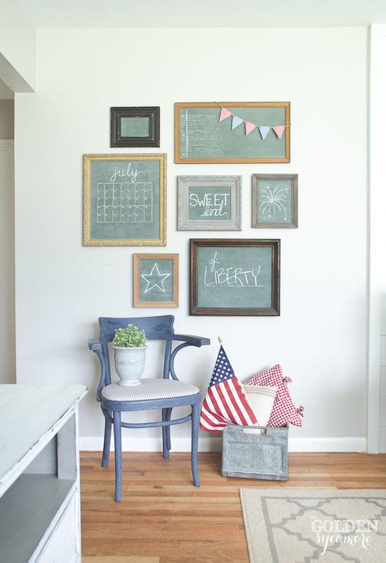 Patriotic decor gallery chalkboard wall - thegoldensycamore.com