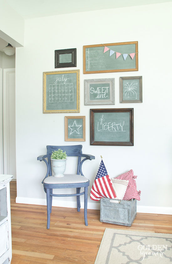 Red, white, and blue decor and vintage chalkboard gallery wall - thegoldensycamore.com