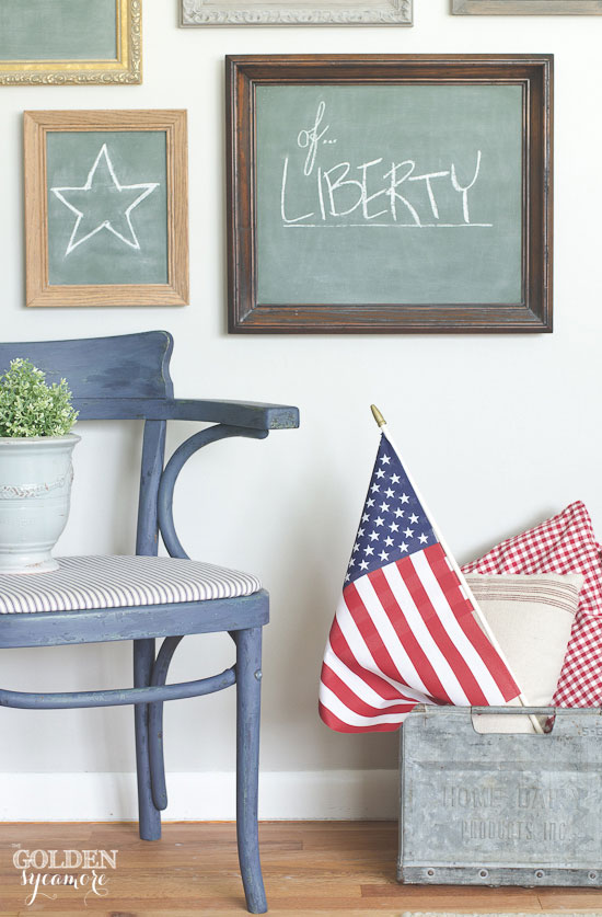 Red, white, & blue patriotic decor and chalkboard gallery wall - thegoldensycamore.com