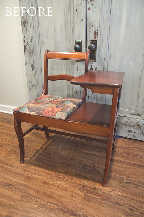 Soft mint telephone table - BEFORE