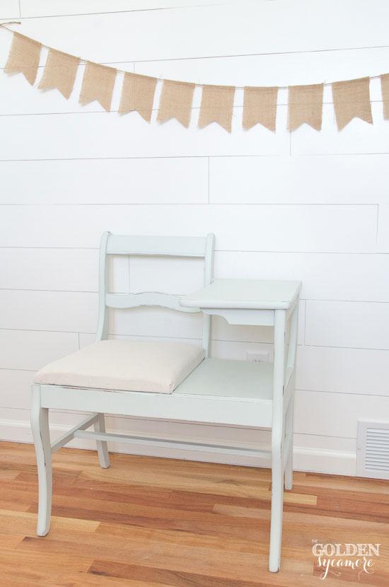 Soft mint telephone table - via thegoldensycamore.com
