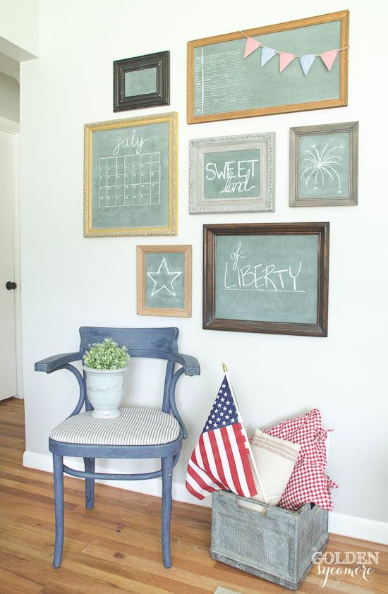 Vintage eclectic patriotic chalkboard gallery wall - thegoldensycamore.com