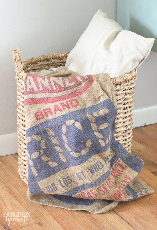 Vintage red and blue burlap grain sack - thegoldensycamore.com