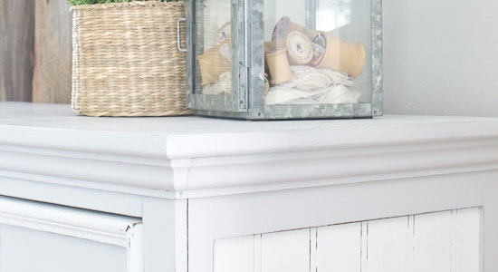 Gray and white cottage style tall painted dresser with bead board