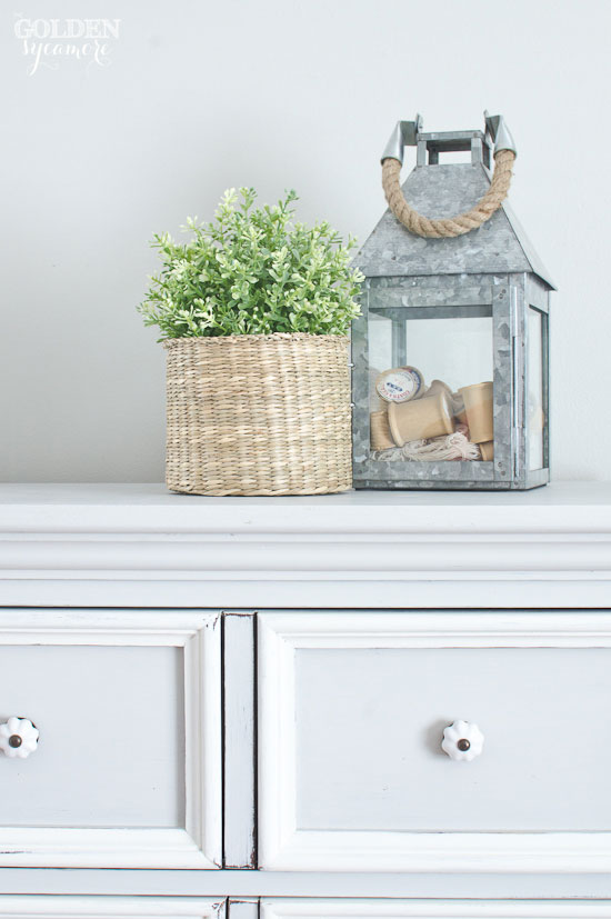 Gray and white chalky finish painted dresser