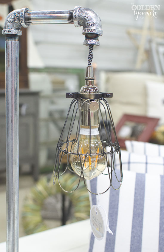 2015 Painted Farmgirl Flea Market - The Golden Sycamore Display - Polished Steel Pipe Lamp