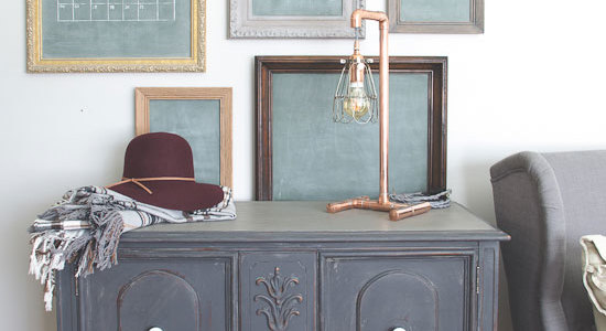 A Cool Copper Lamp & What Happened to the Hutch