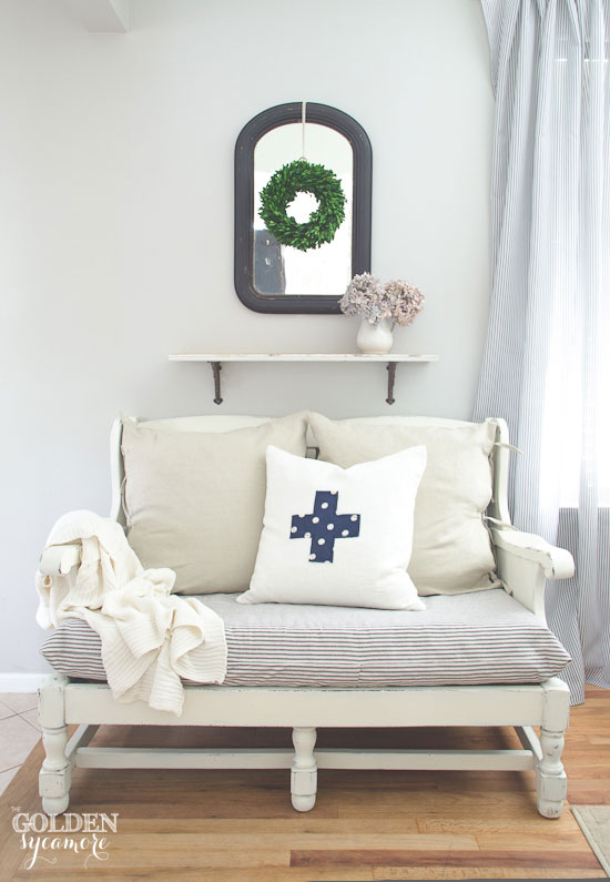 Ethan Allen cozy cottage sofa makeover