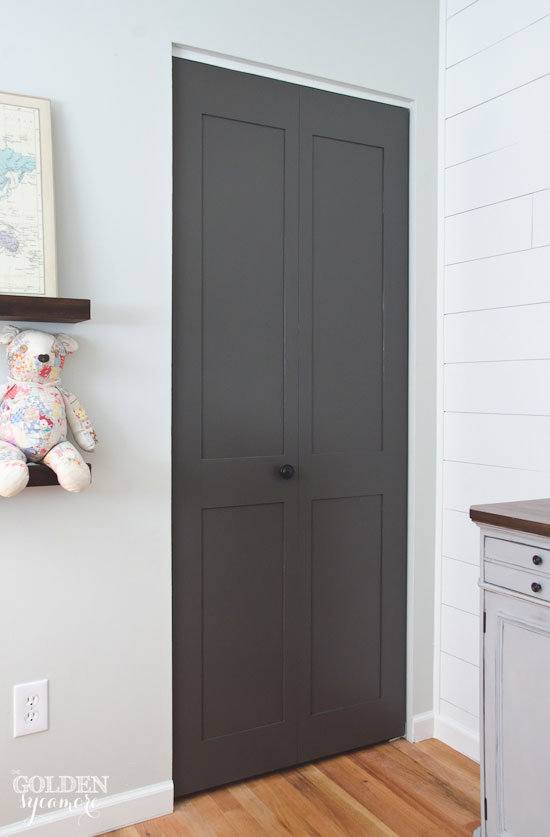 Dark in closet Plan Gorgeous Dark Gray Updated Closet Doors Meredith Ehler Happy Accident The Tale Of Closet Door Makeover The Golden