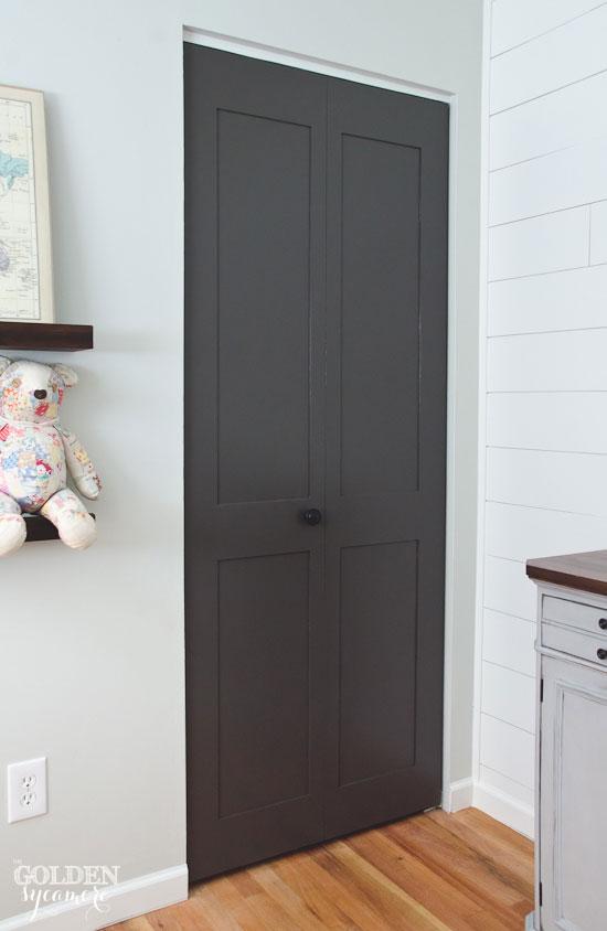 Gray closet doors
