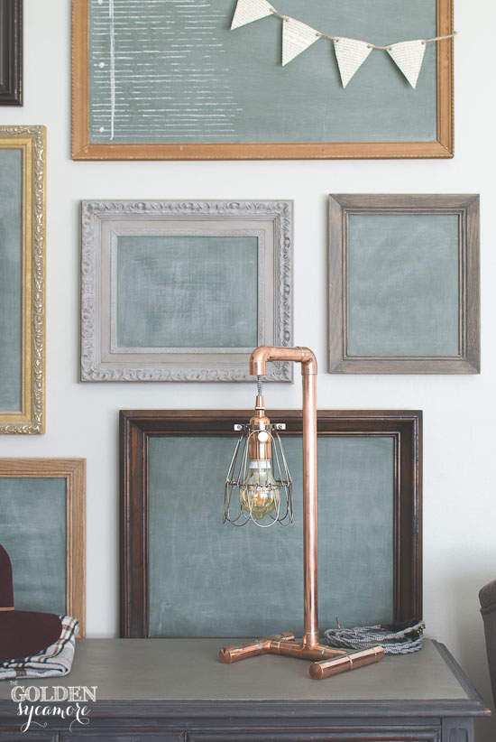 Handmade industrial copper lamp & chalkboard gallery wall