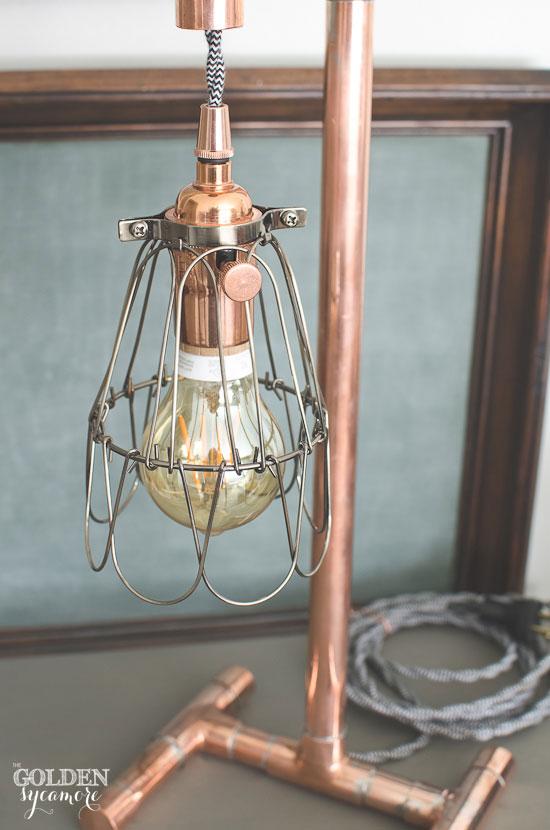 Handmade industrial copper lamp