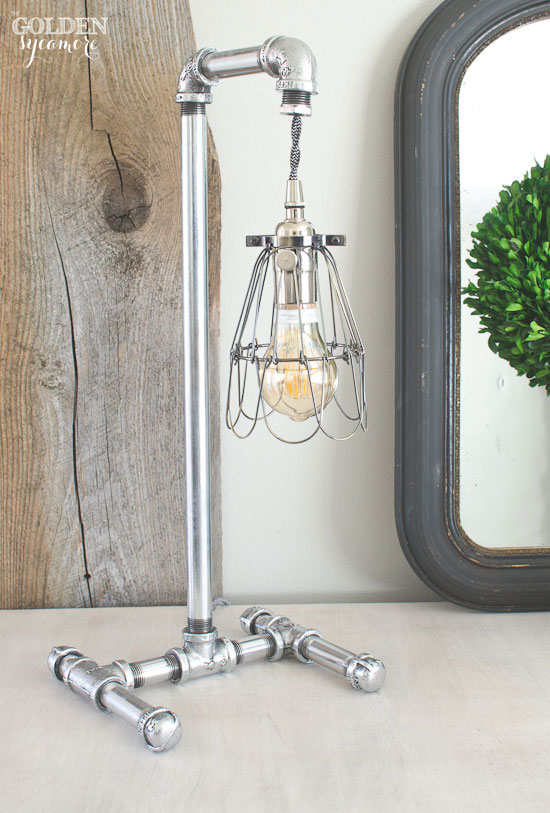 Handmade industrial polished pipe lamp