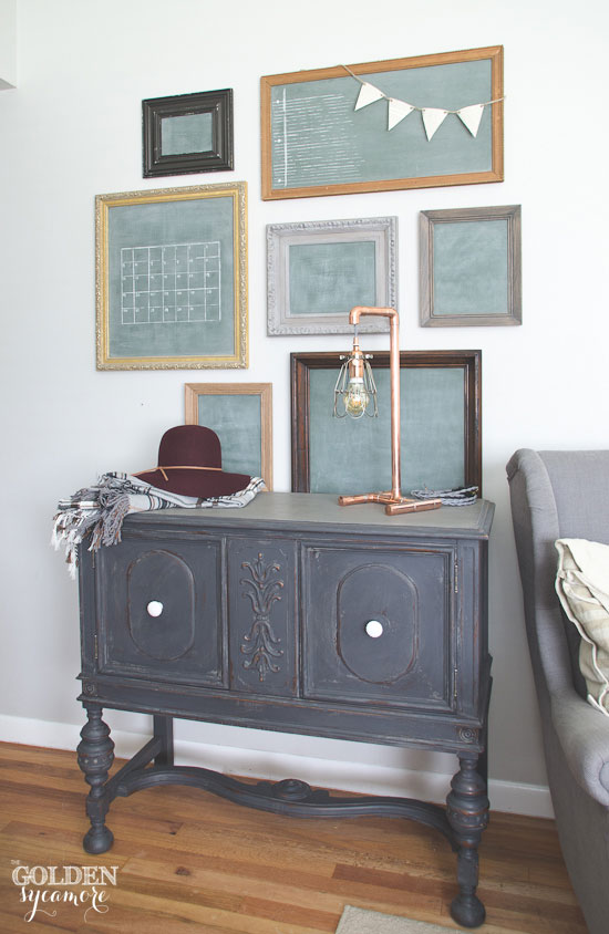 Milk painted buffet and chalkboard gallery wall