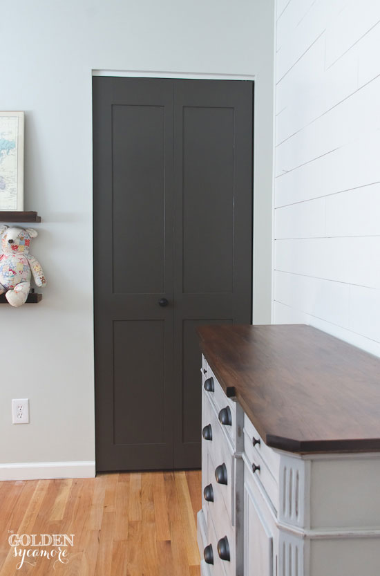 DIY Updated dark gray closet doors