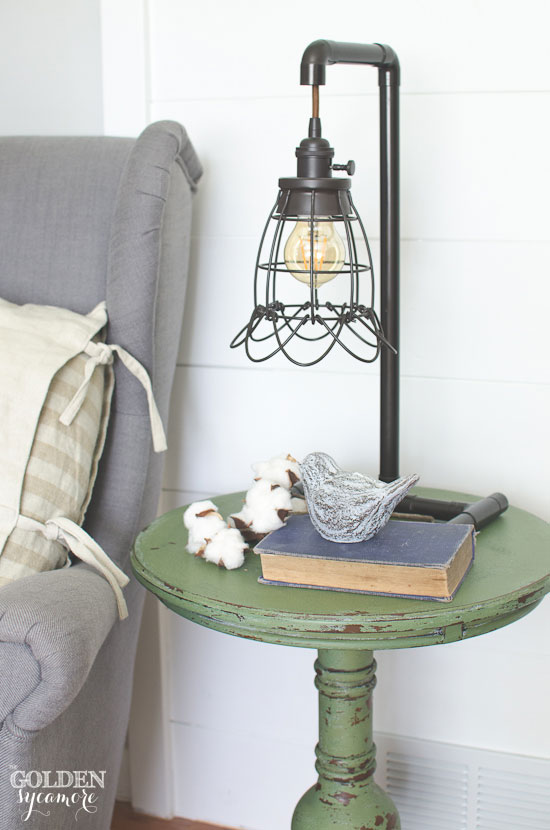 Boxwood end table and cool industrial lamp