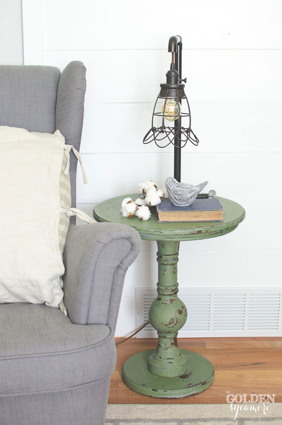 Boxwood green painted end table