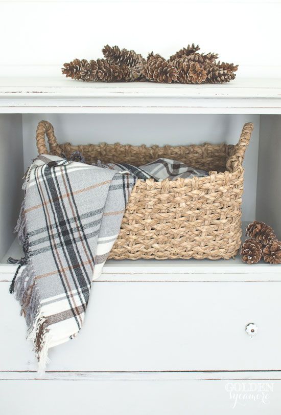Gray trash-to-treasure repurposed dresser with basket