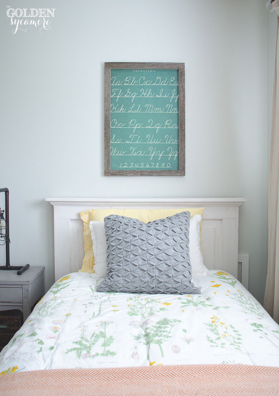 Easy kids' wall art idea - framed wrapping paper