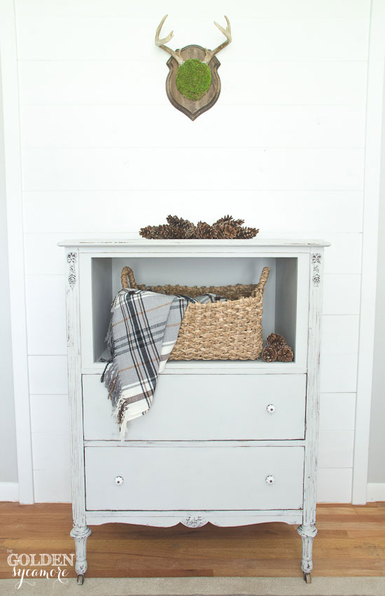 Gray trash-to-treasure repurposed dresser
