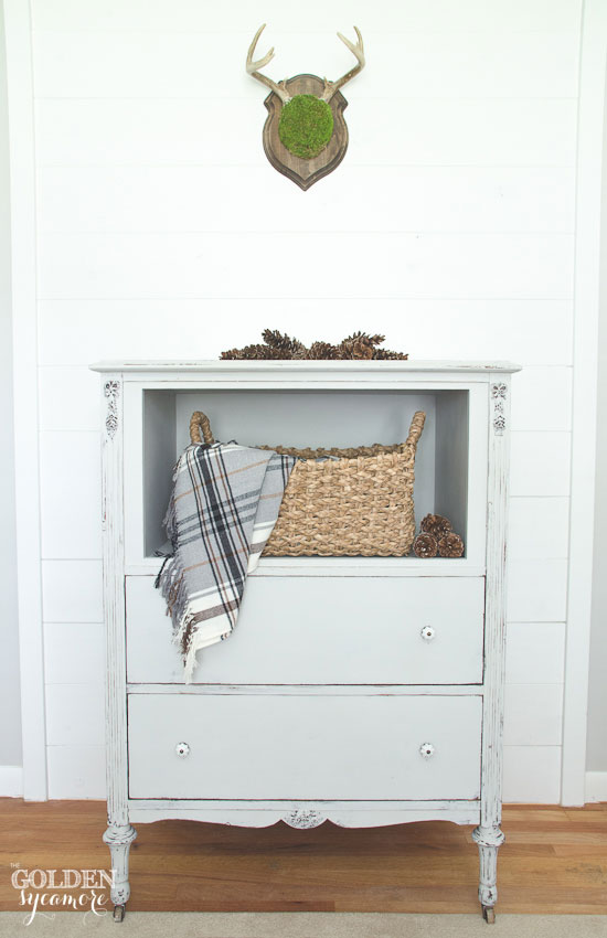 Trash to treasure repurposed gray dresser