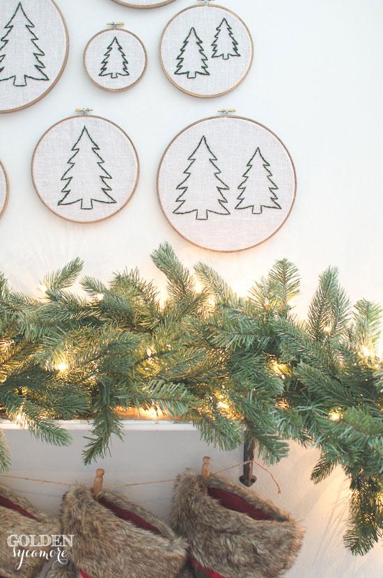 Christmas tree embroidery hoop art