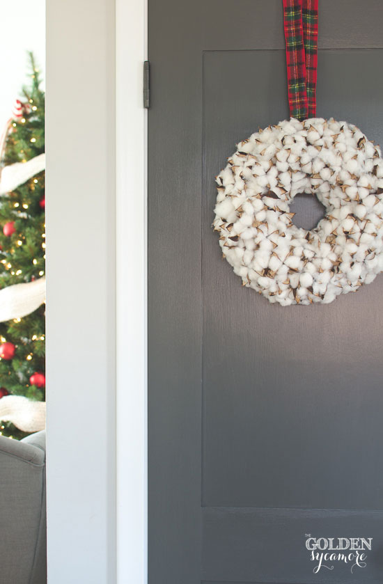 Dark grey painted doors & cotton Christmas wreath
