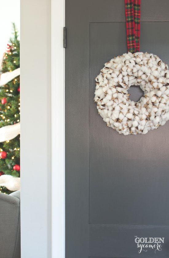 Dark grey painted doors & cotton Christmas wreath