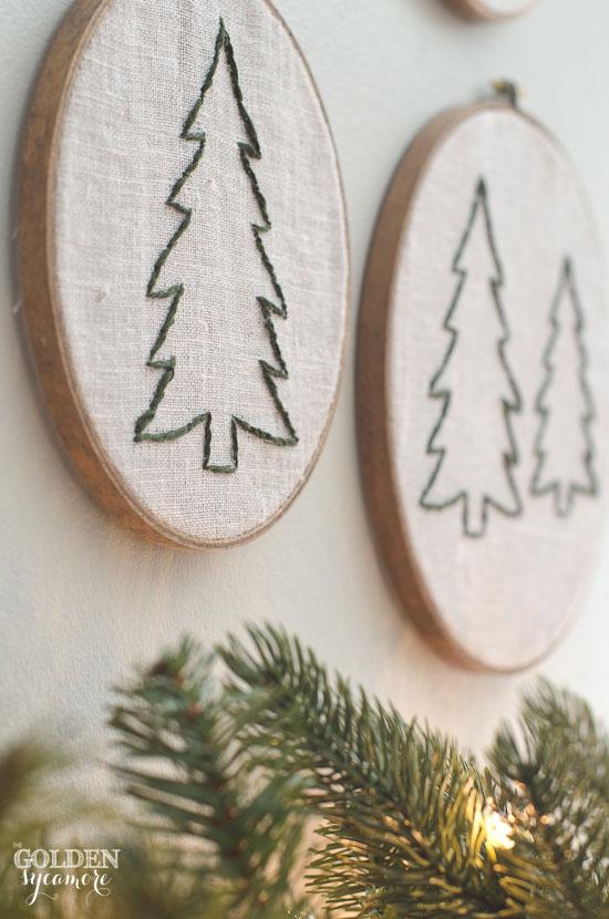 Embroidered Christmas tree hoop art