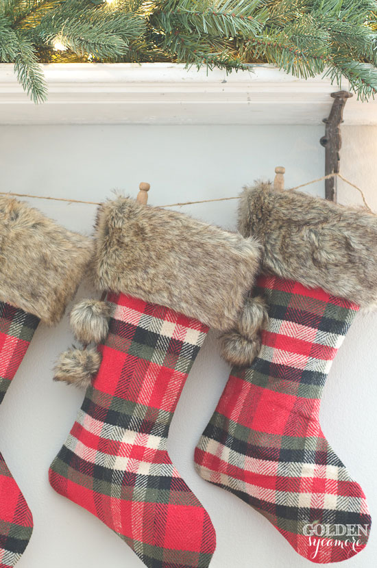Cozy plaid Christmas stockings