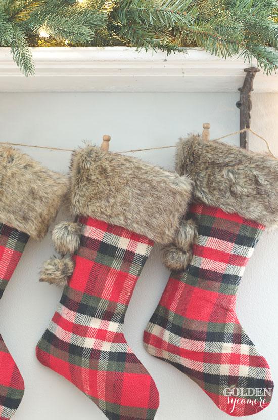Cozy plaid Christmas stockings