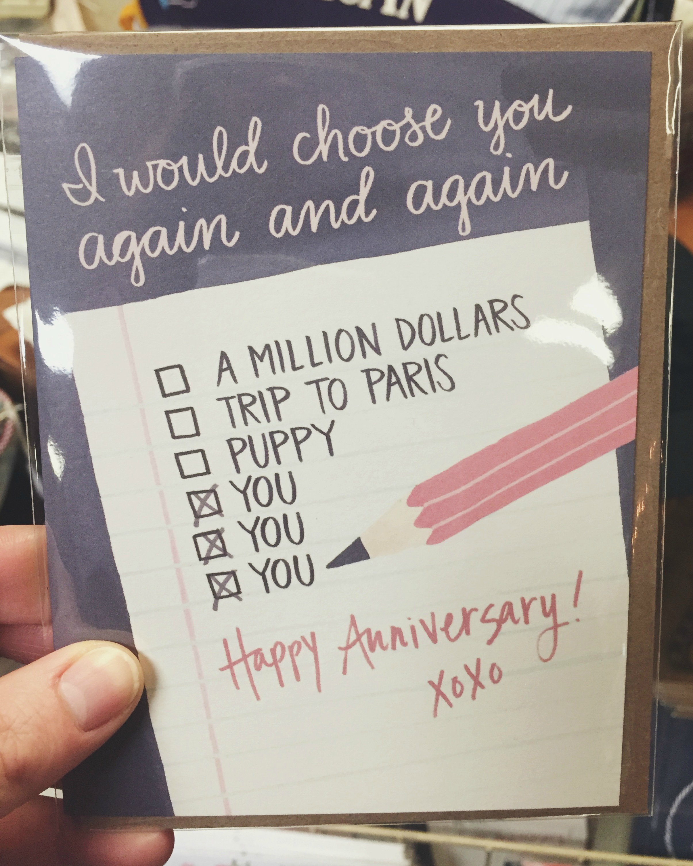 Anniversary card at The Found Cottage