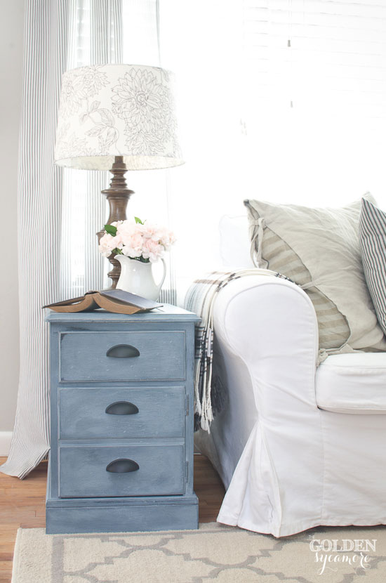 Blue Chalky Painted End Table