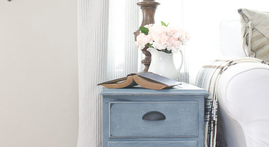Blue Painted End Table