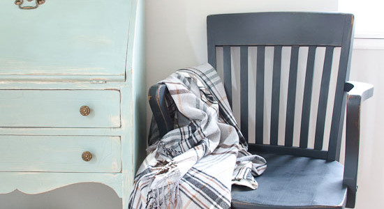 Black vintage painted chair makeover