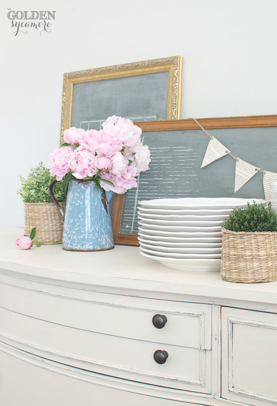 Antique buffet makeover and beautiful pink peonies