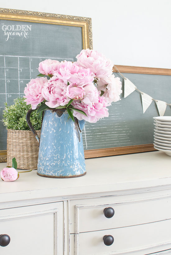 Beautiful pink peonies and custom green vintage chalkboards