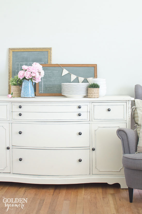 Gorgeous vintage buffet makeover