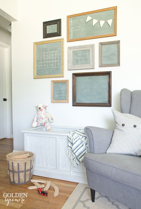 Milk painted toy box and vintage chalkboards