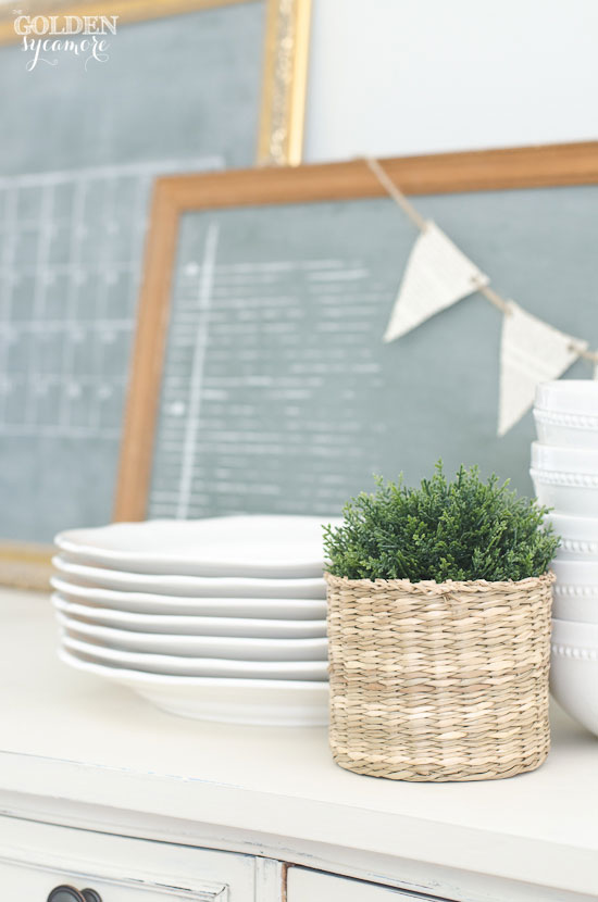 White dishes and vintage custom green chalkboards