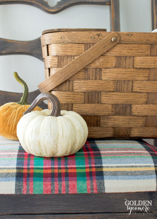 Fall plaid chair makeover & pumpkins