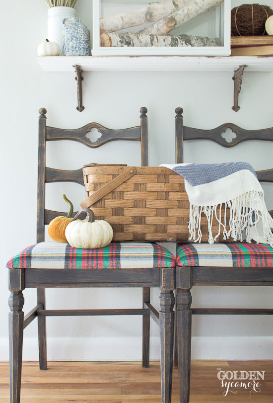 Fall plaid chair makeover