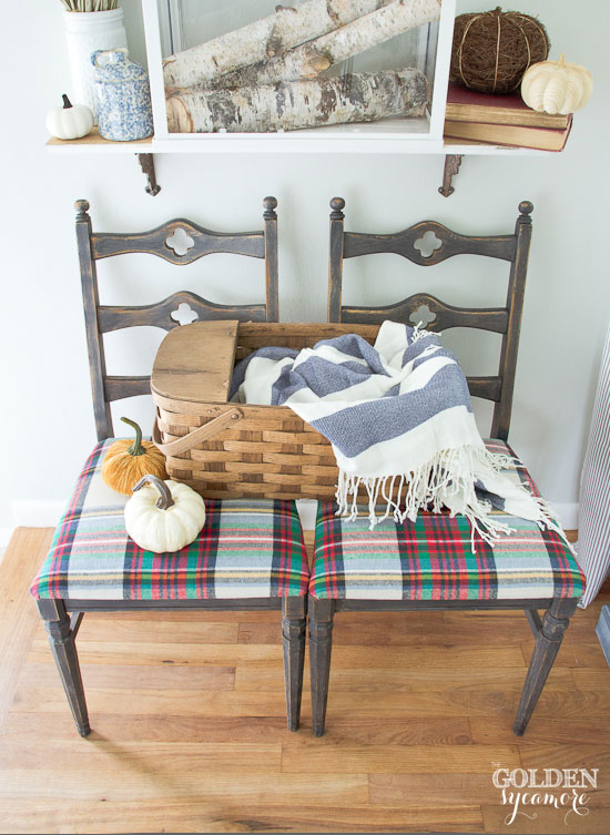 Neutral fall entry with blue accents and plaid chairs