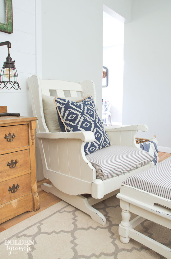Updated white vintage Ethan Allen chair