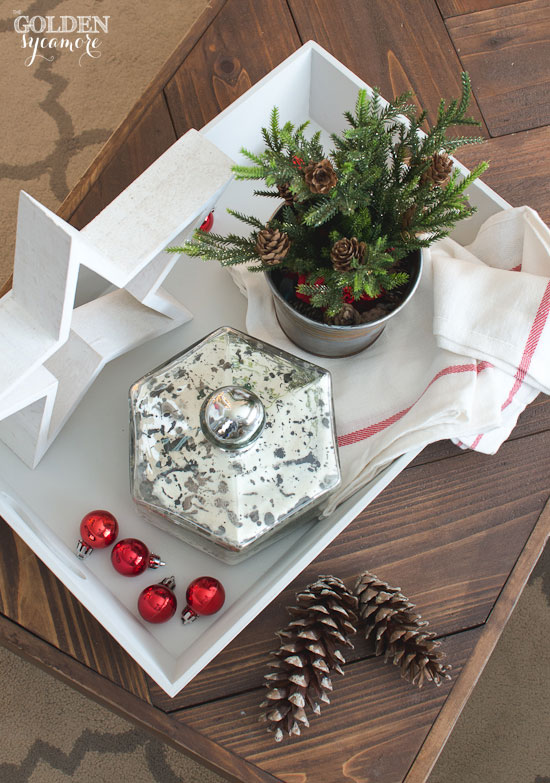 Simple Christmas decor in painted coffee table tray