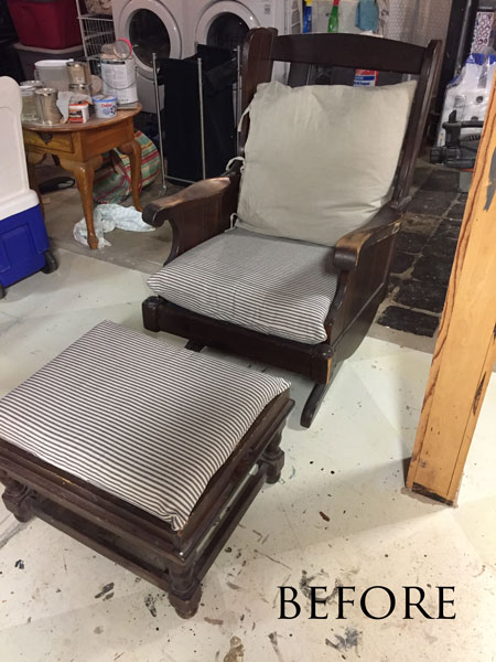 Vintage Ethan Allen rocking chair - before