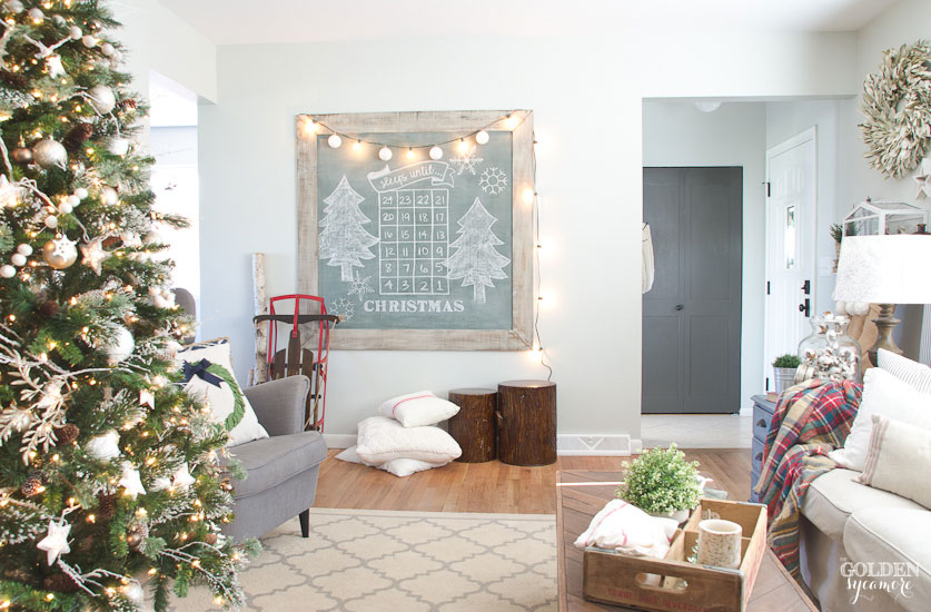Cozy Christmas living room with extra large vintage green chalkboard